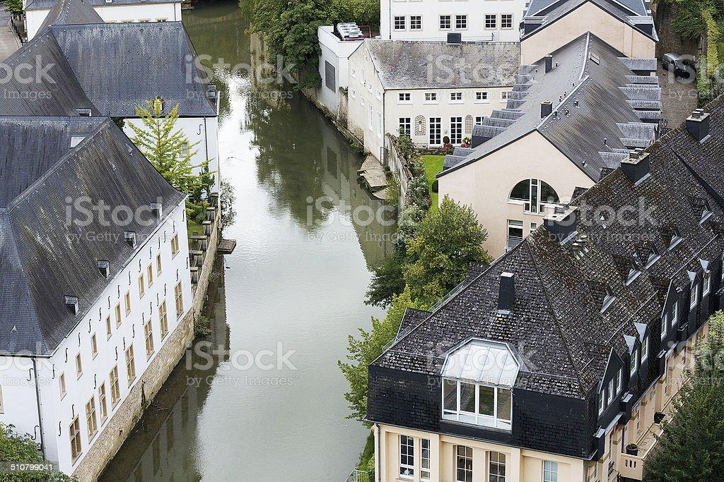 Fiume case, Lussemburgo foto stock royalty-free