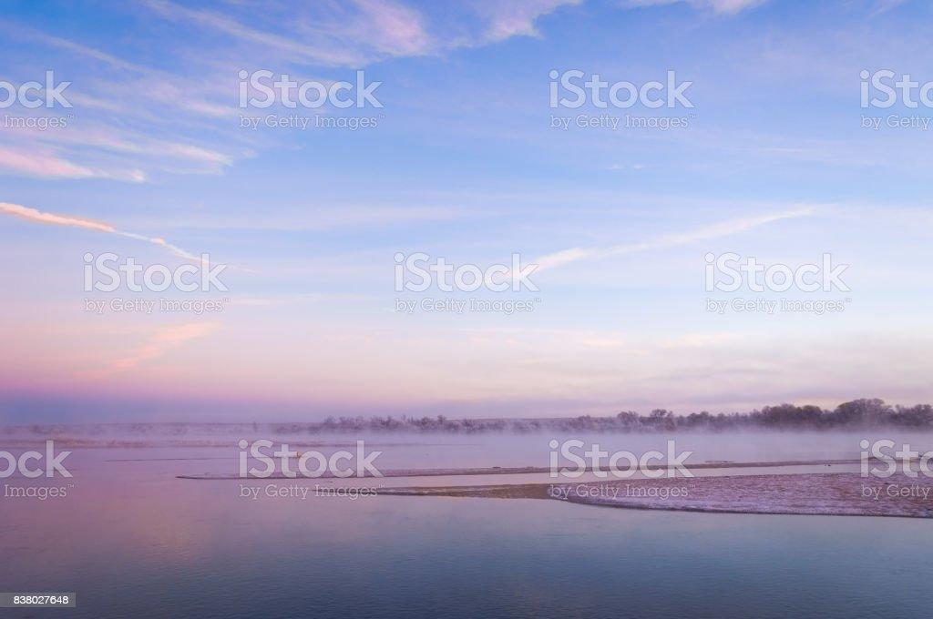 River ice. river in winter stock photo