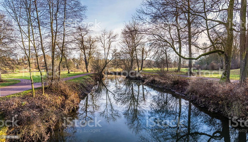 river ilm in the Goethe Park in Weimar stock photo