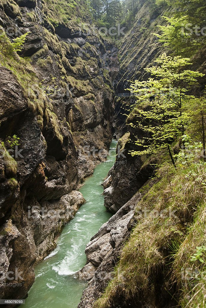 river in a deep canyon stock photo