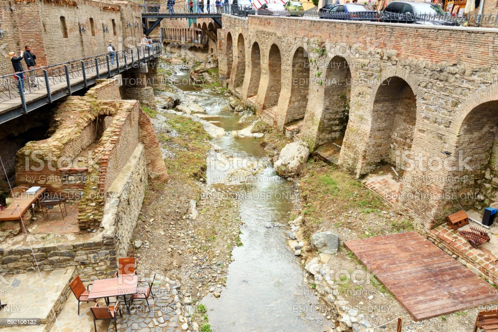 River in Abanotubani district in the Old Town of Tbilisi. Georgia stock photo