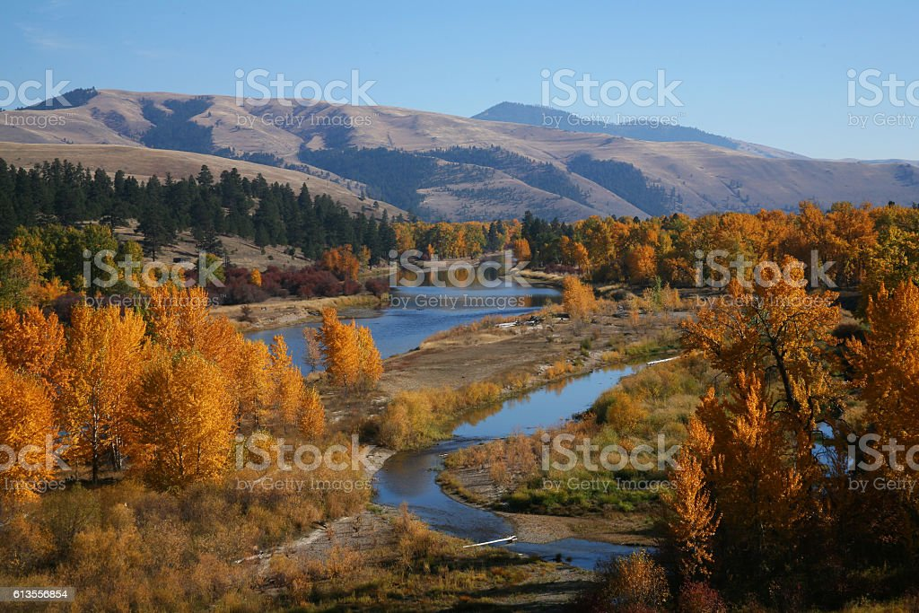 River in Autumn stock photo