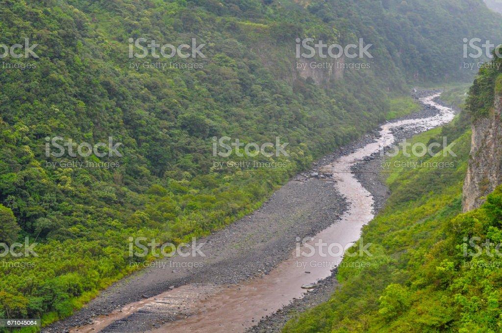 River in Banos de Agua Santa, Ecuador stock photo