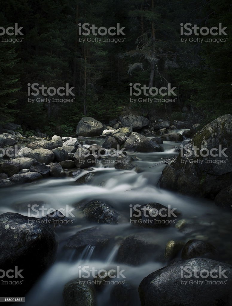 River in dark forest. royalty-free stock photo
