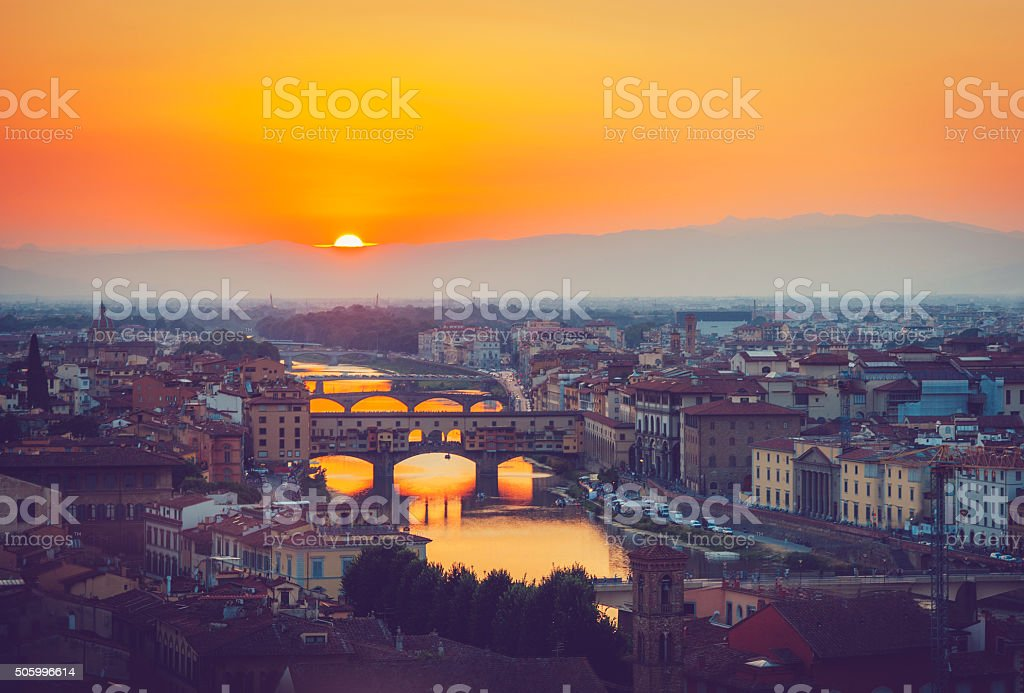 River in fire, Florence stock photo