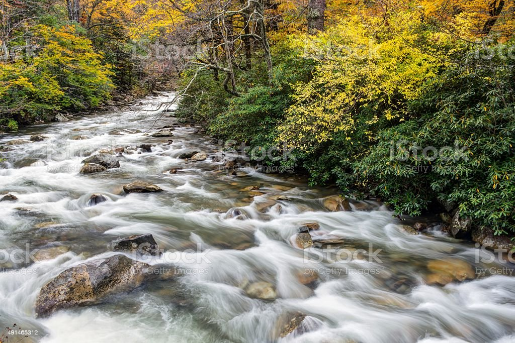 River in Great Smoky Mountains National Park ijn October stock photo