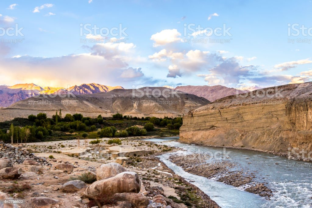 river in Ladakh with view to the  himalaya stock photo
