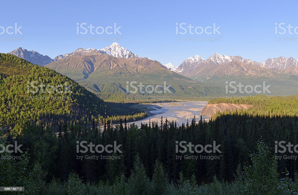 River in mountains, Alaska stock photo