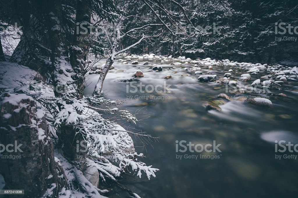 River in mountains stock photo