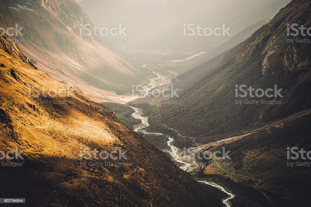 River in Nepal mountains stock photo