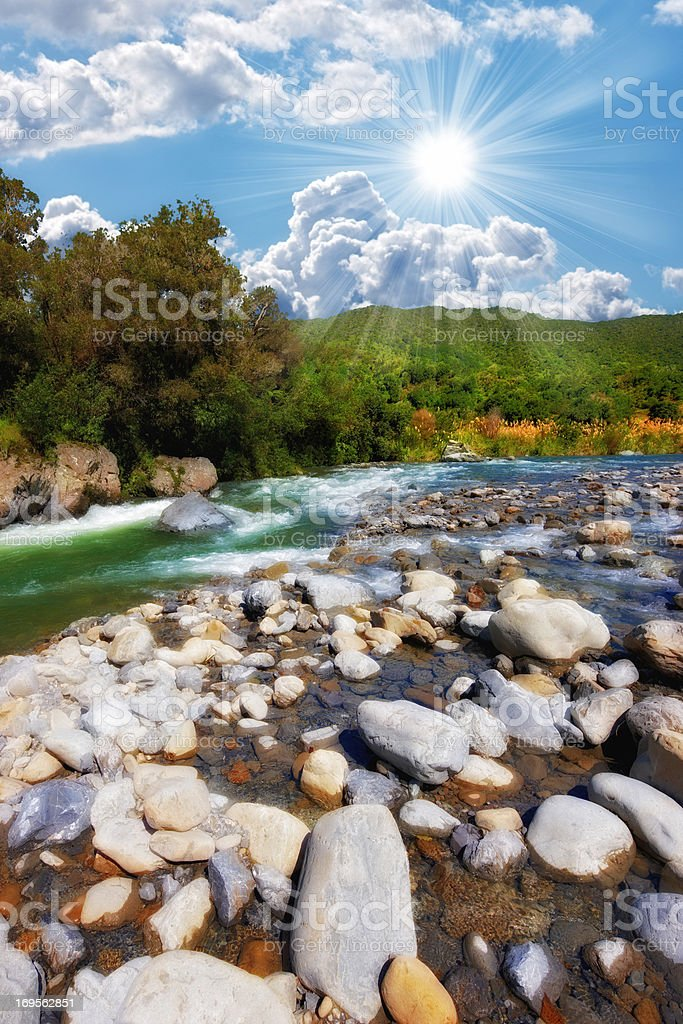 River in New Zealand stock photo