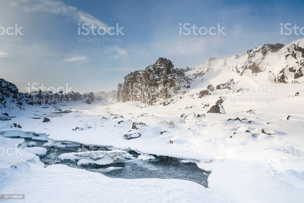 River in Pingvellir valley under the snow.  Iceland stock photo