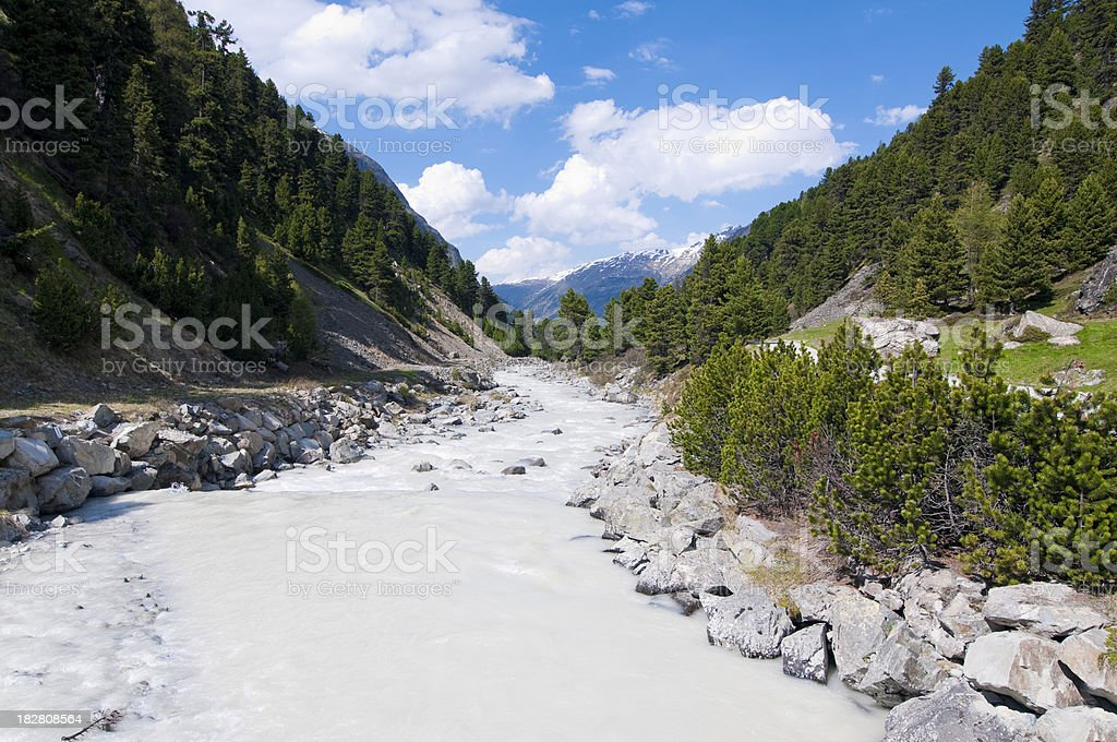 River in Rosegtal, \tEngadine, Switzerland stock photo