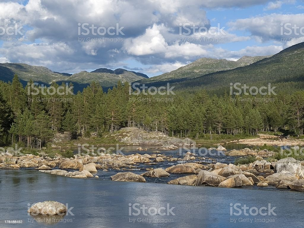 River in southern Norway; Fluss Südnorwegen royalty-free stock photo