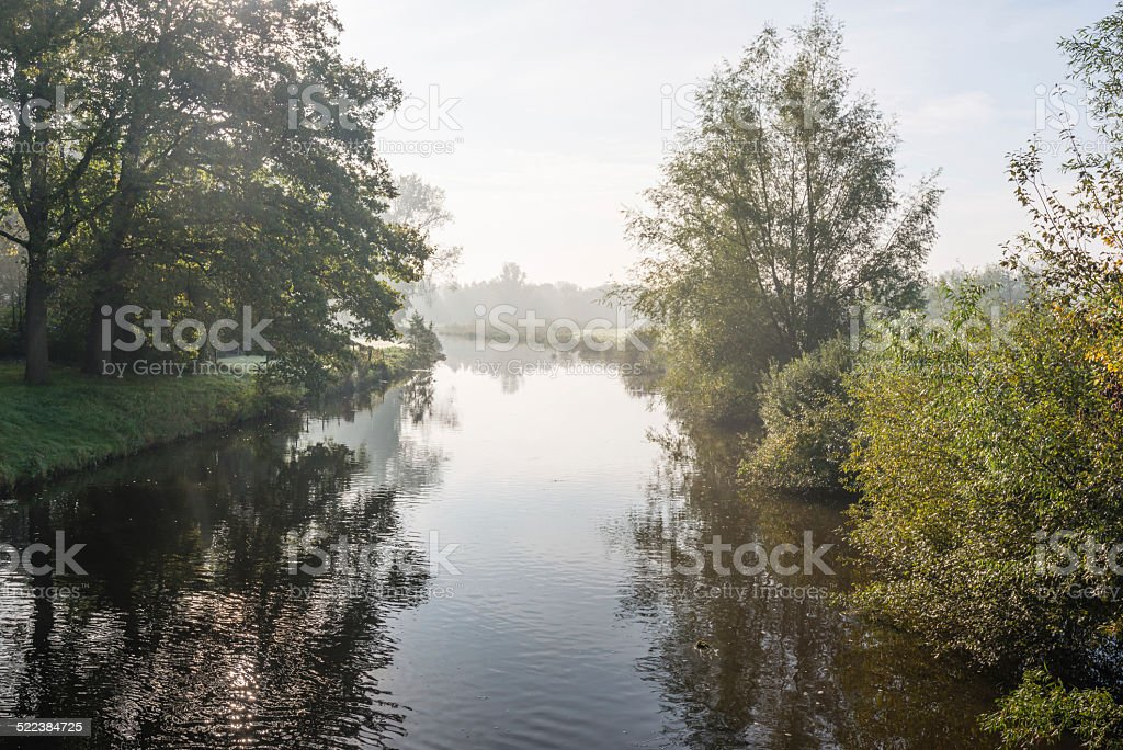 River in subtile early morning light colors stock photo