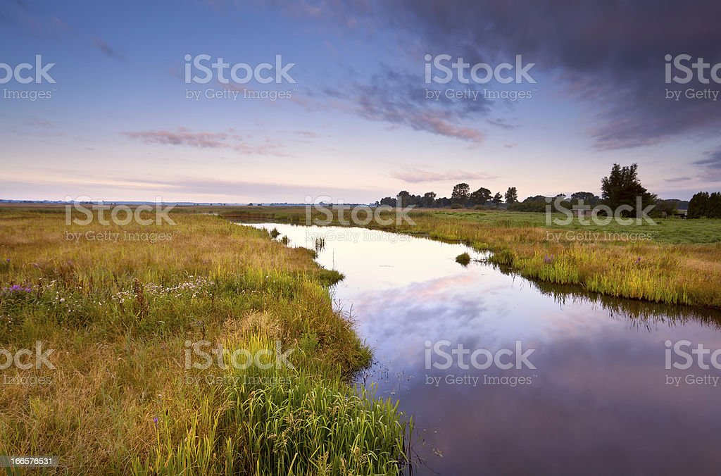river in summer at sunrise royalty-free stock photo