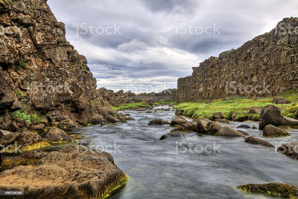 River in the canyon, Thingvellir NP, Iceland royalty-free stock photo