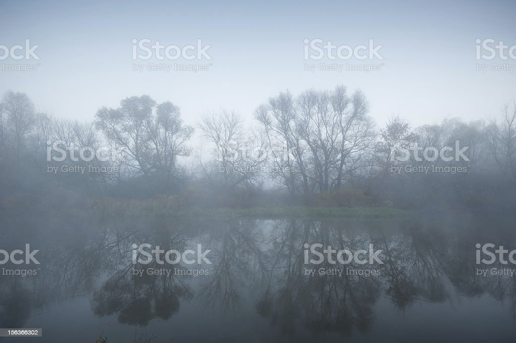 river in the fog royalty-free stock photo