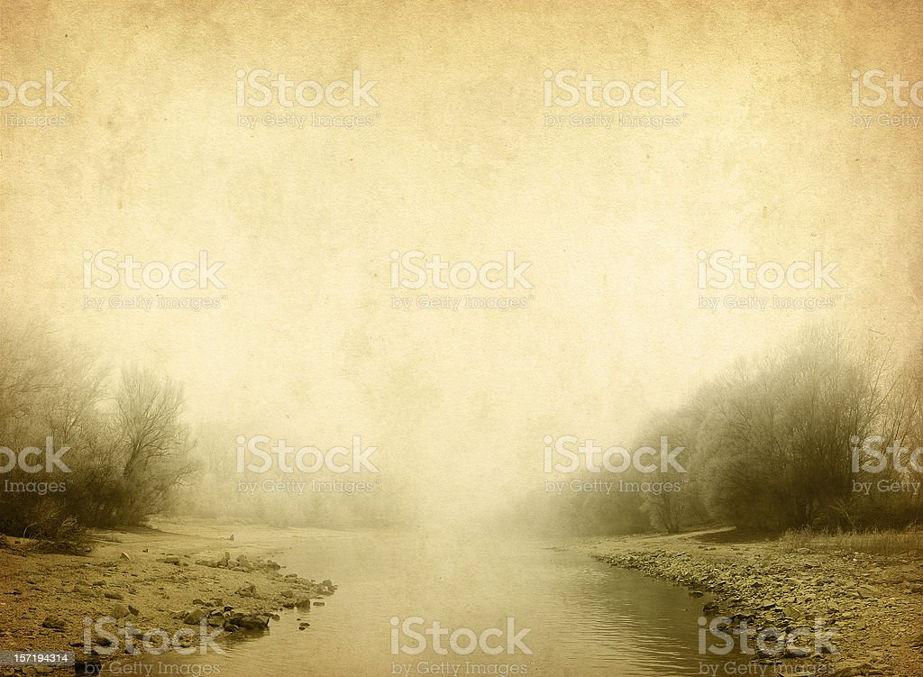 river in the fog - vintage photo stock photo