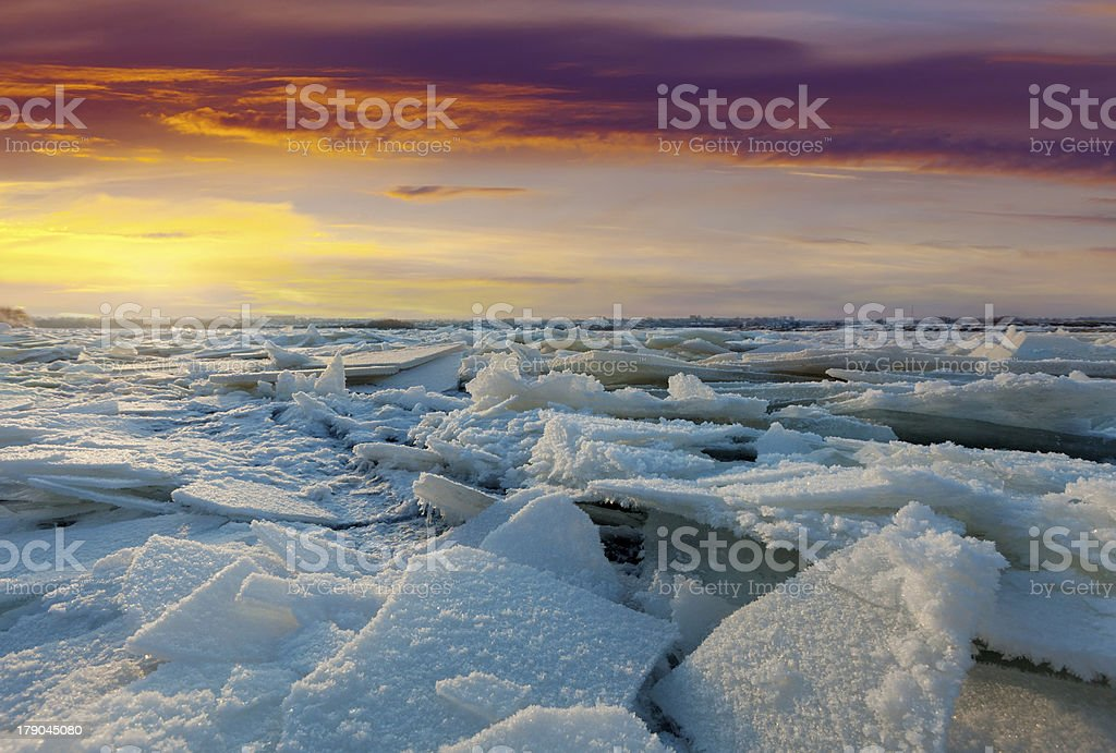 river in winter sunset royalty-free stock photo