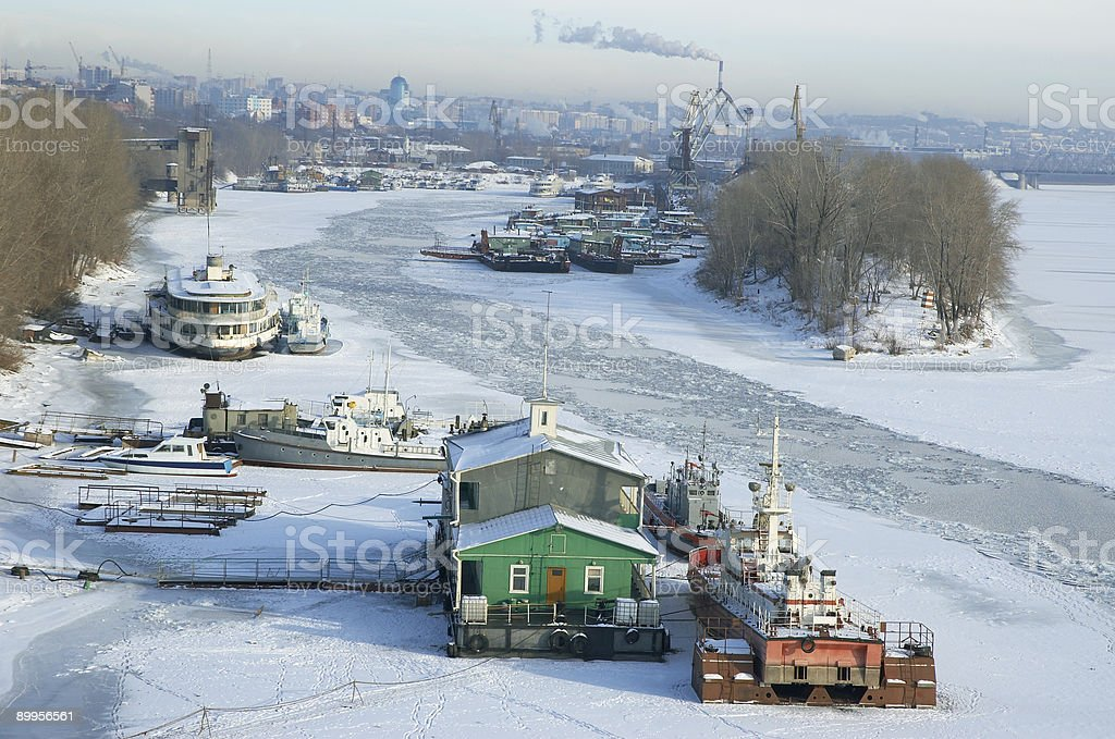 River in winter time stock photo