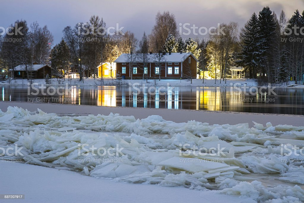 River is frozing on Christmas stock photo