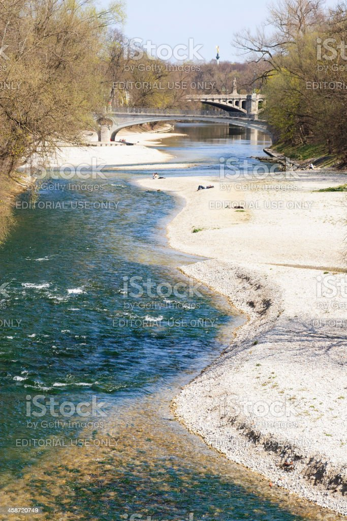 River Isar with sunbathers, Munich stock photo