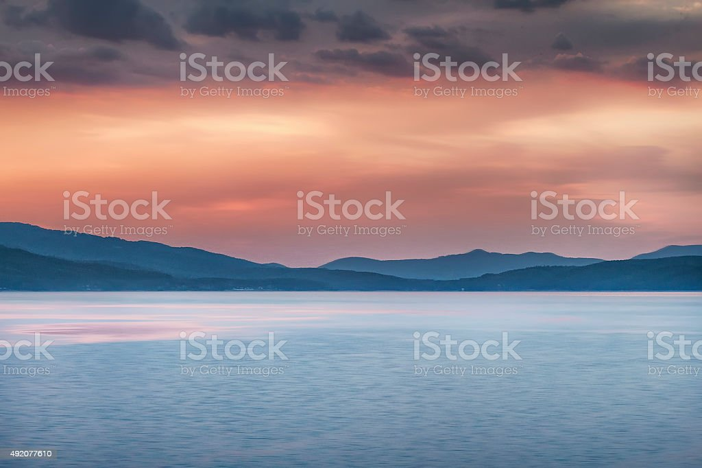 river Iskar sunset stock photo