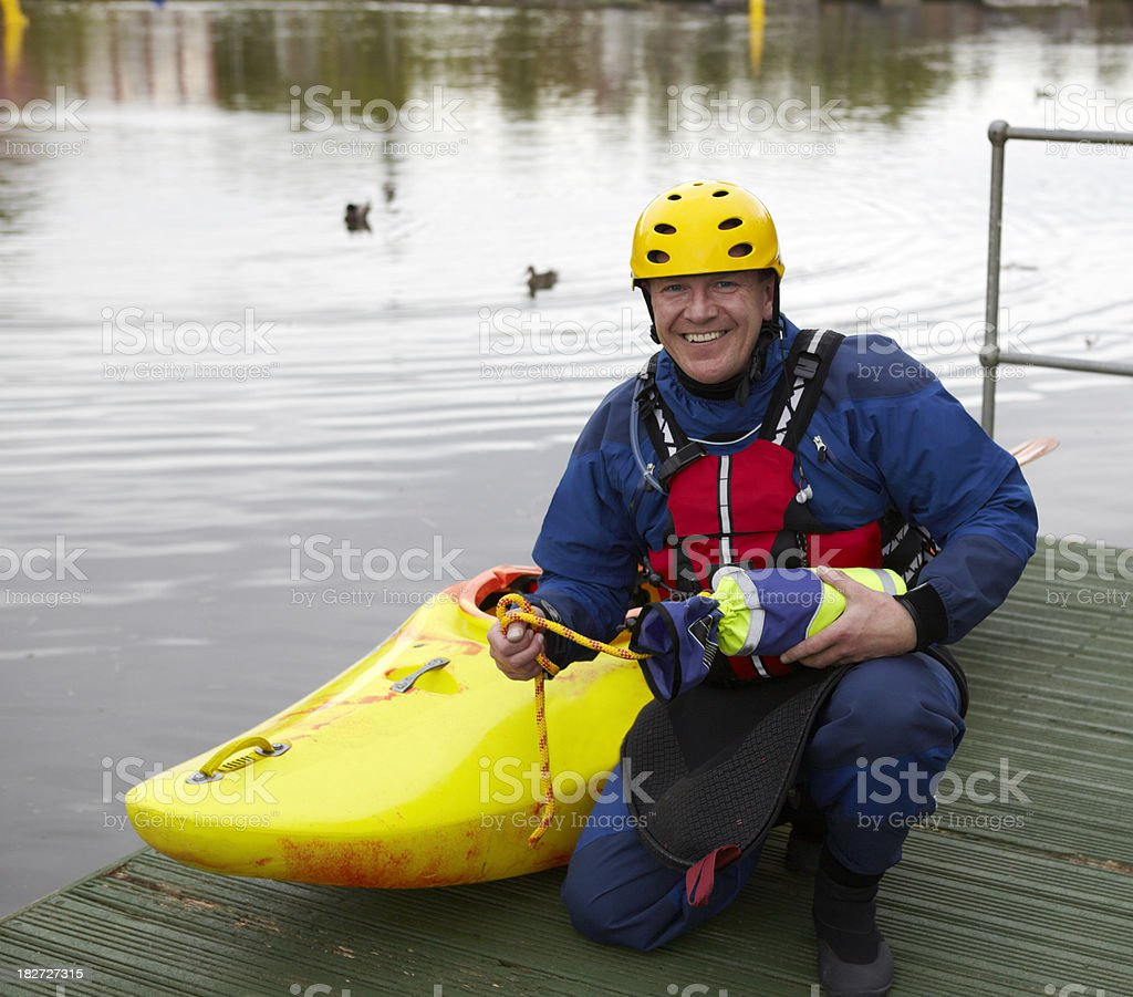 River Kayaker with safety equipment royalty-free stock photo