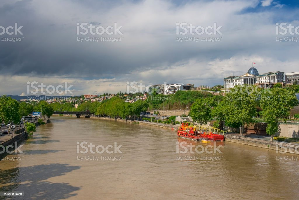 river Kura and residence of Georgian President in Tbilisi stock photo