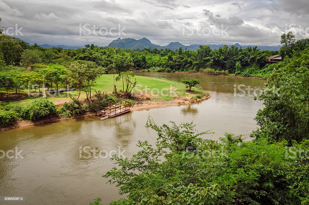 River Kwai and landscape Thailand stock photo