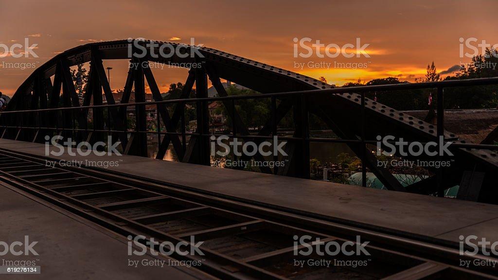 River Kwai Bridge, Kanjanaburi World War 2 historical bridge stock photo