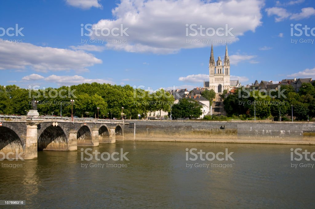 River La Maine and Cathedral Saint-Maurice, Angers, France stock photo