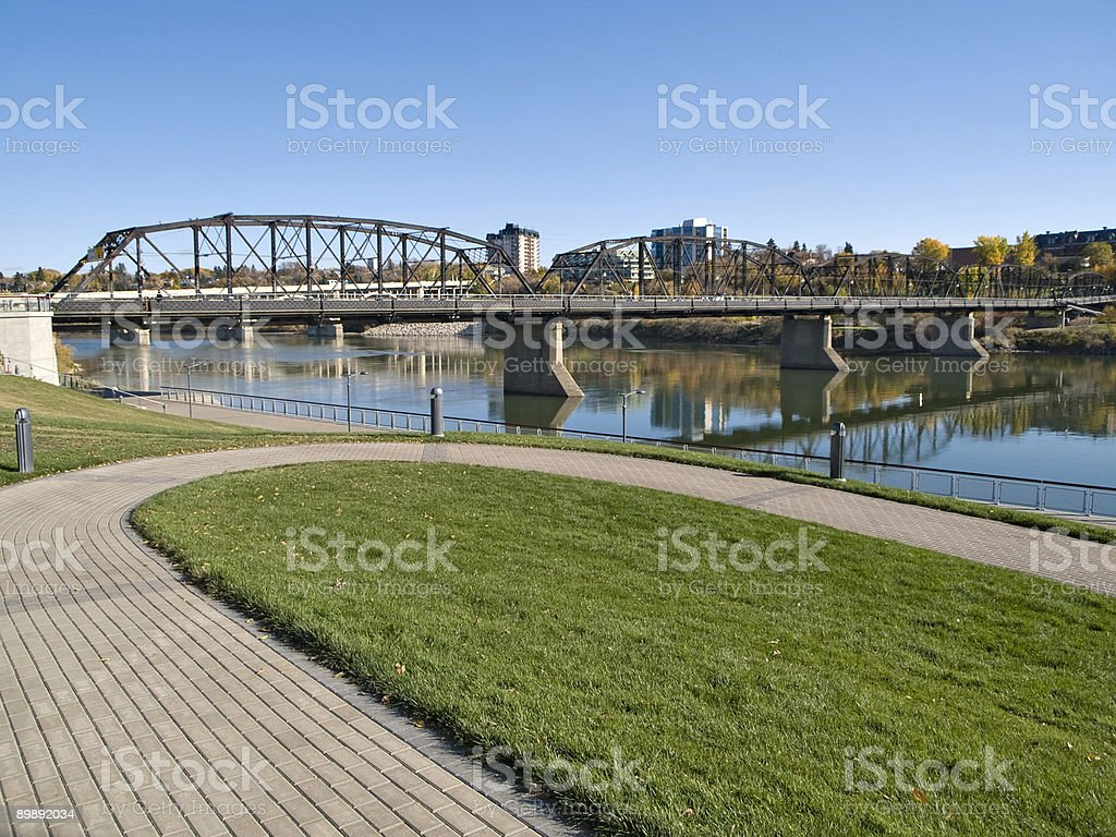 River Landing Walking Path Near Iron Bridge, Saskatoon stock photo