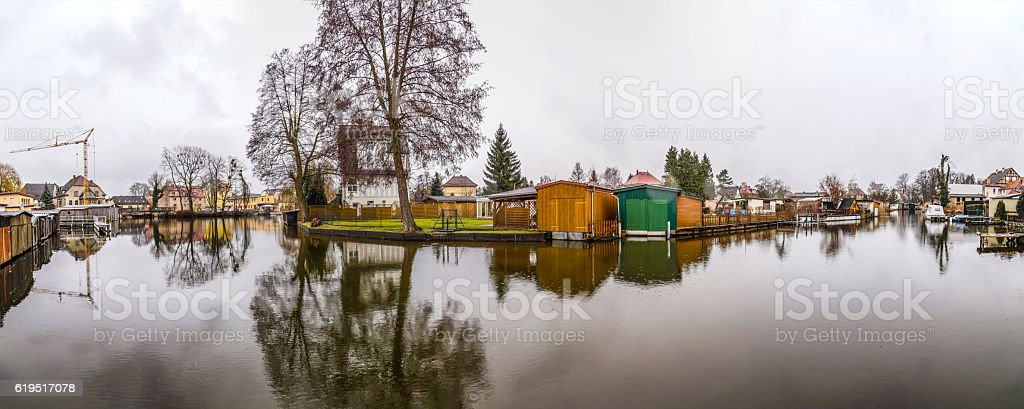 river landscape at Havel at a small canal in Brandenburg stock photo