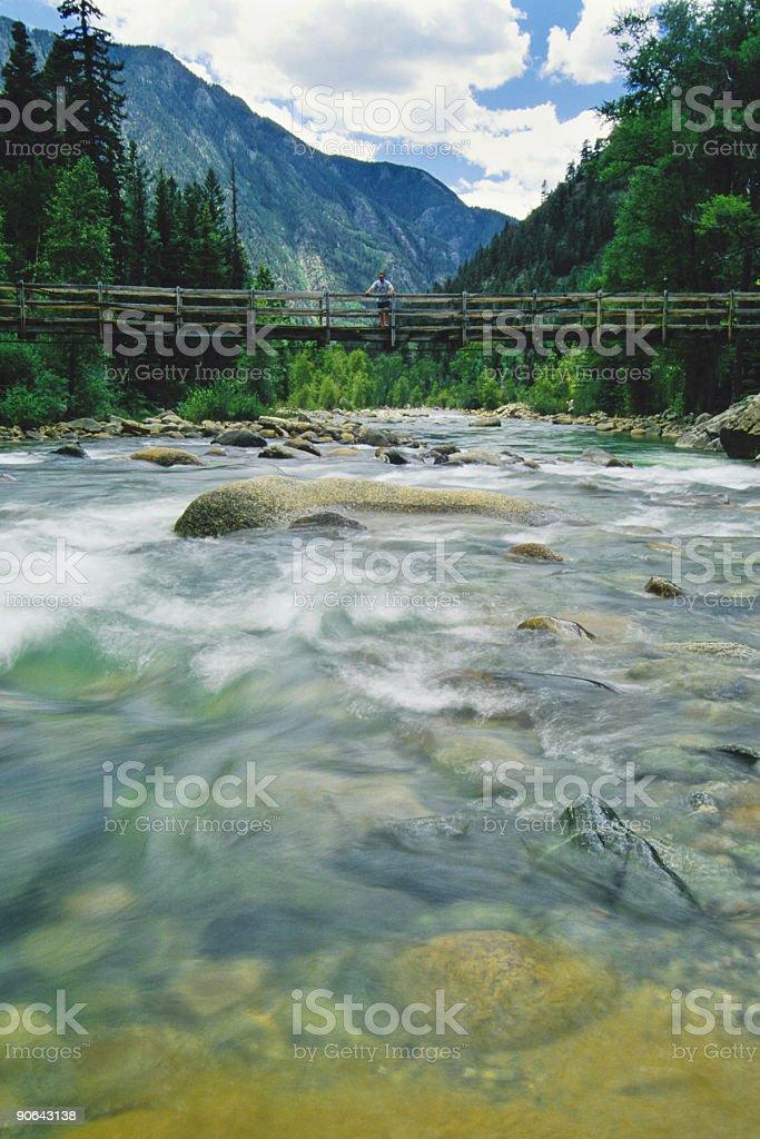 river landscape bridge man standing royalty-free stock photo