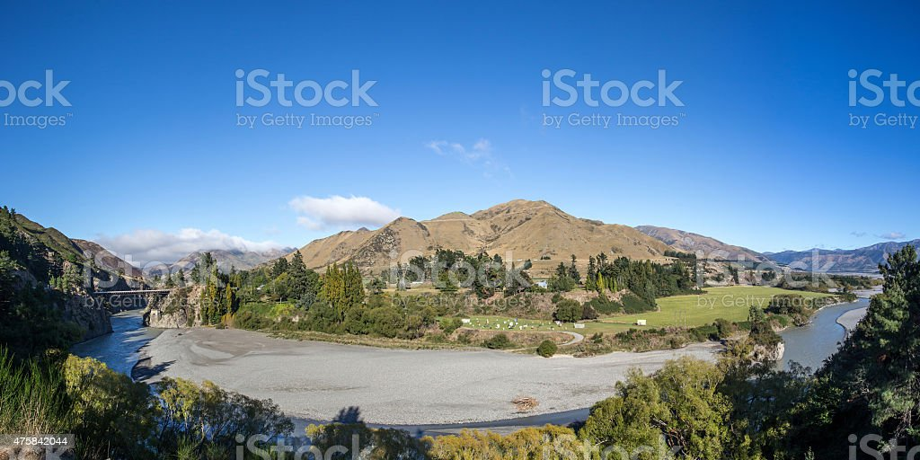 River landscape New Zealand stock photo