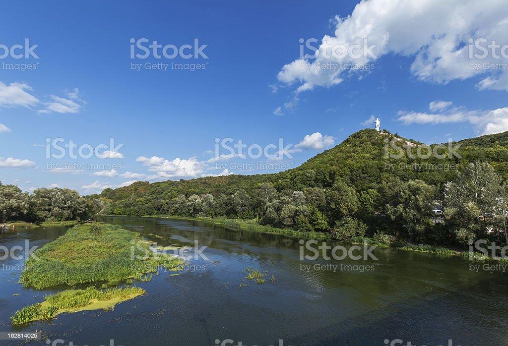 River landscape (Severskiy Donec, Ukraine) stock photo