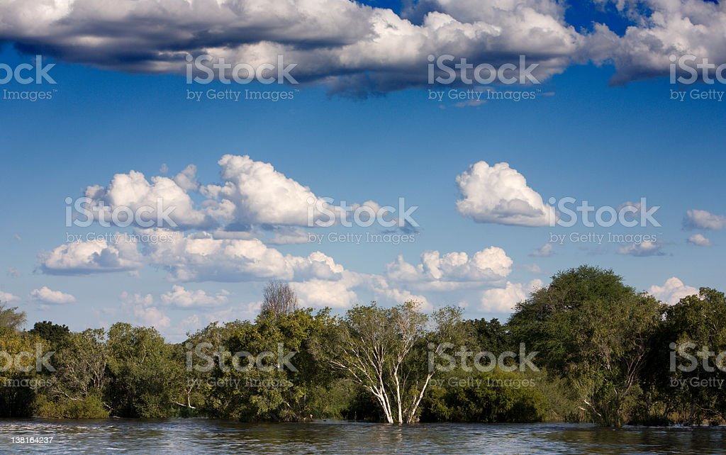 River landscape with clouds and forest royalty-free stock photo