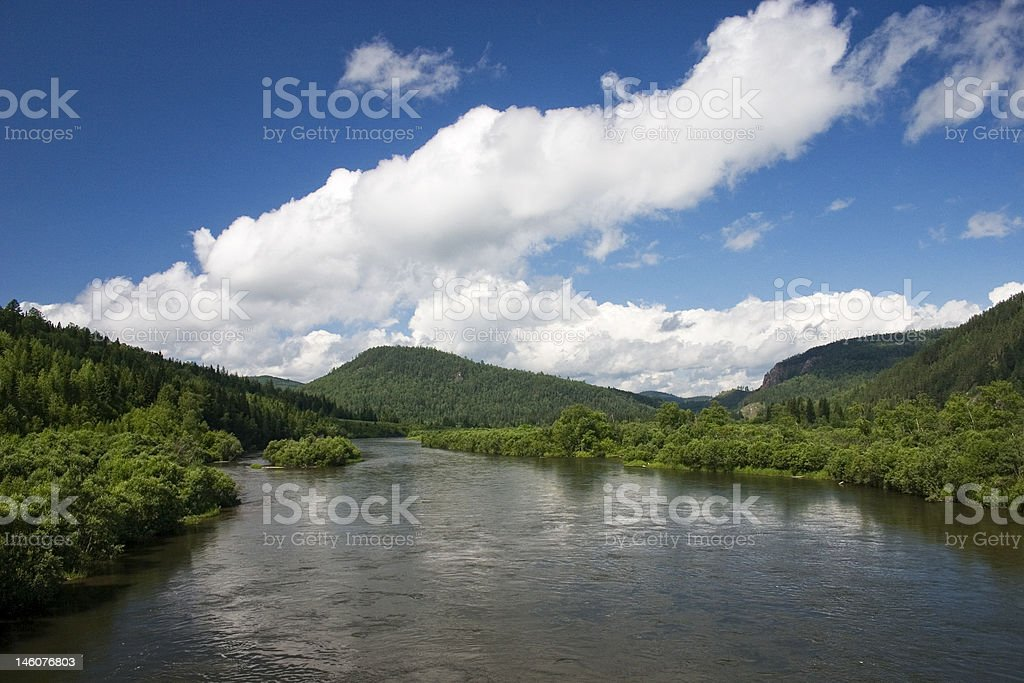 River landscape with clouds. royalty-free stock photo