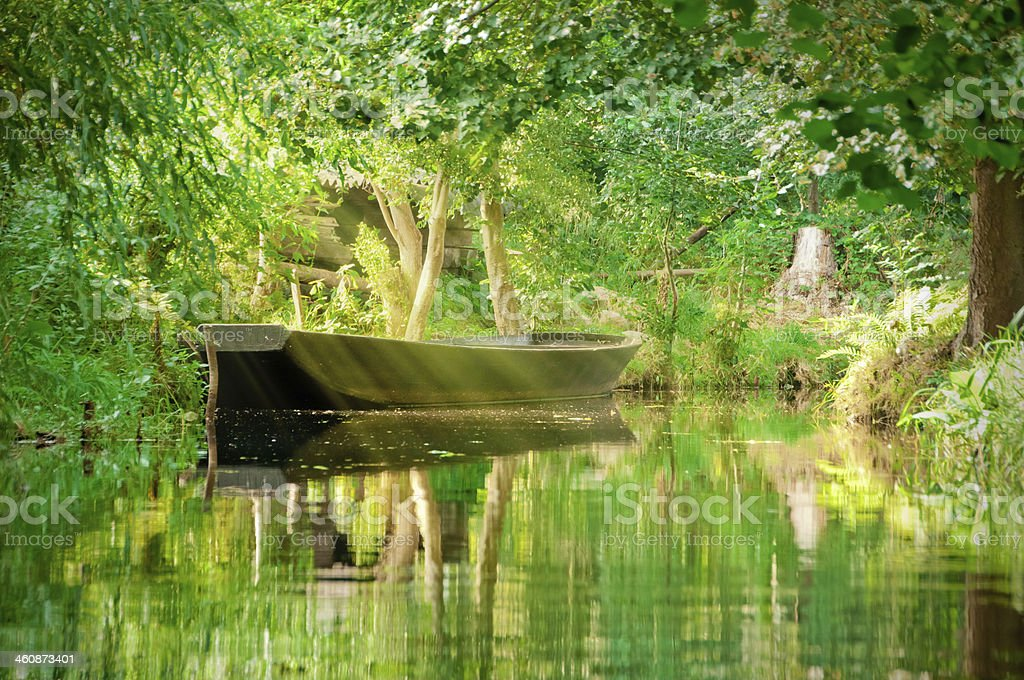 river landscape with green forest in Spreewald/ Germany royalty-free stock photo