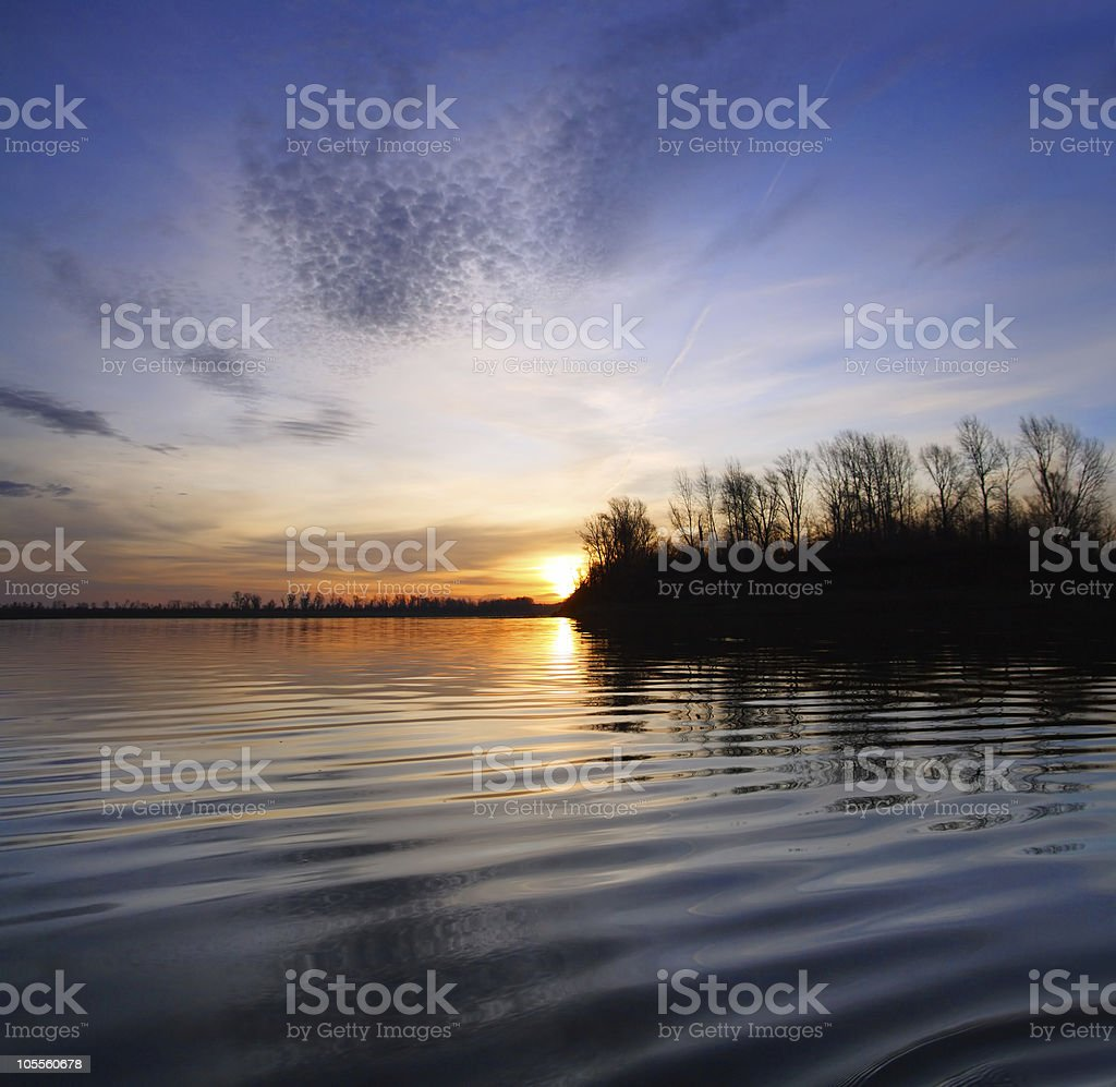 river landscape with sunset royalty-free stock photo