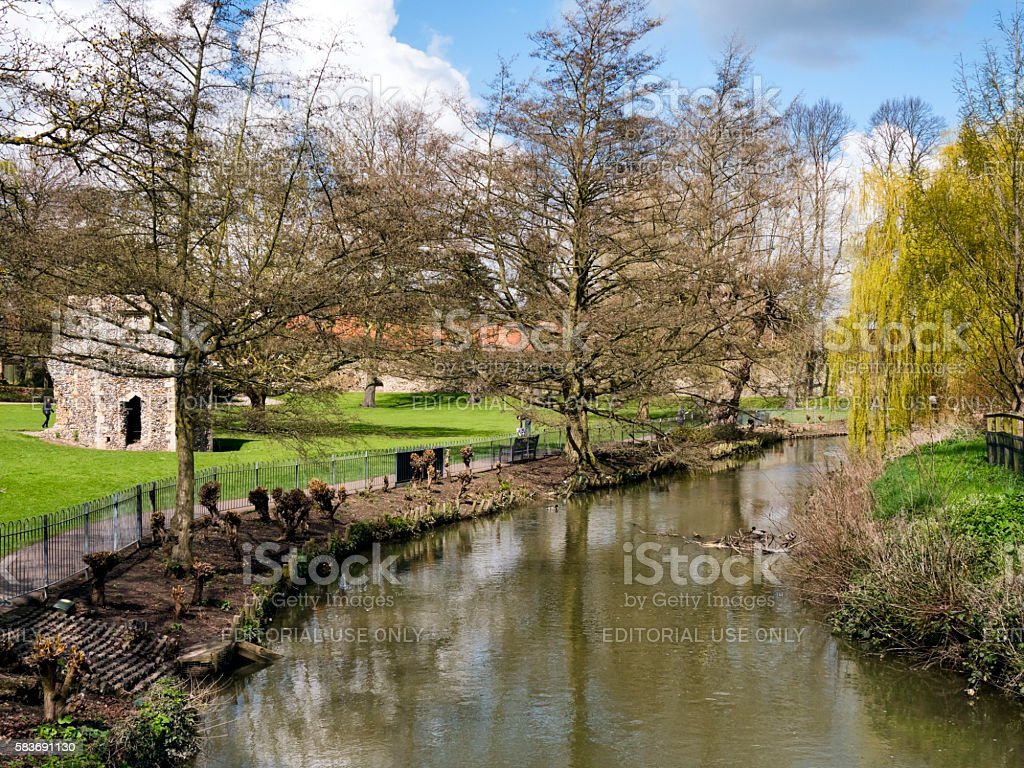River Lark in Bury St Edmunds Abbey Gardens stock photo