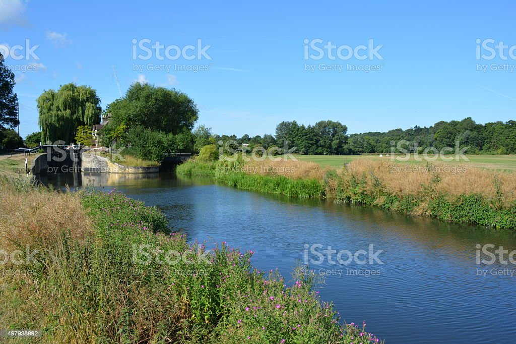River Lea between Hertford and Ware stock photo