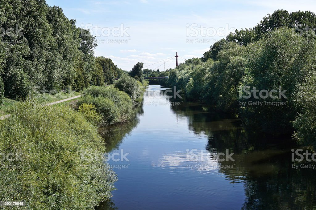 river Leine at Hannover Germany stock photo