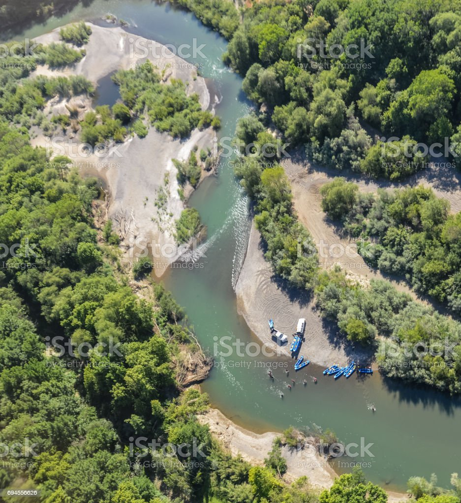 River leisure activity in Northern California stock photo