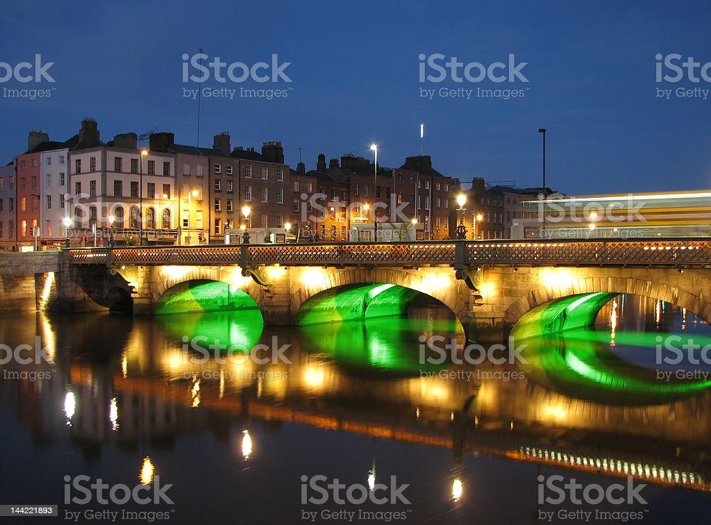 River Liffey Bridge By Night, Dublin royalty-free stock photo