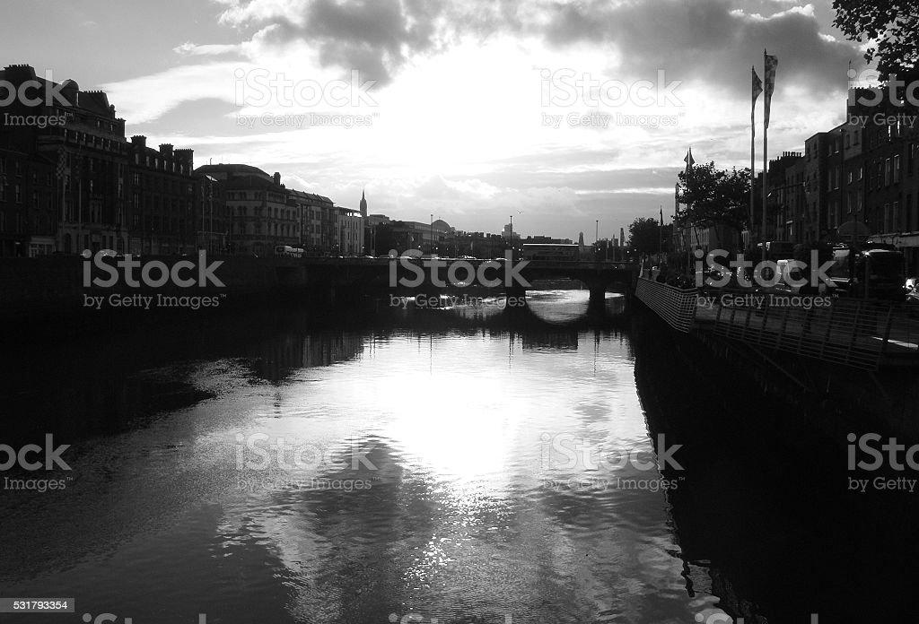 River Liffey canal in Dublin stock photo