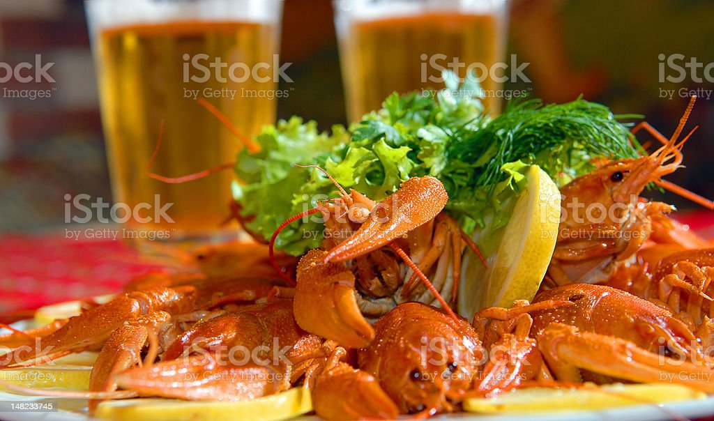 River lobsters against beer royalty-free stock photo