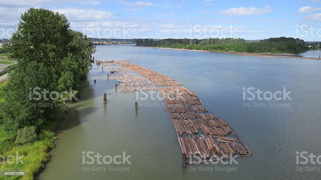 River Log Boom stock photo